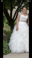 Sophia Moncelli 'Gorgeous Full Skirt' size 12 used wedding dress front view on bride