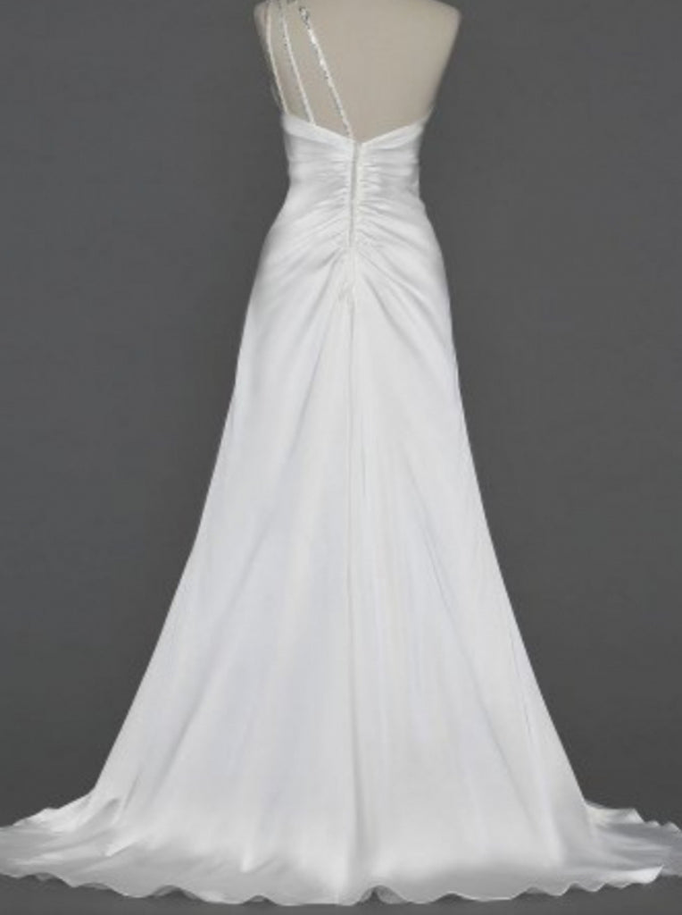 Galina 'Beaded One-Shoulder' size 4 new wedding dress back view on hanger