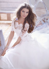 Jim Hjelm 3/4 Sleeve Lace & Tulle Ball Gown - Jim Hjelm - Nearly Newlywed Bridal Boutique - 3