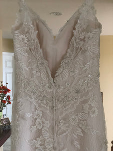 Casablanca 'Sequined Lace' size 6 new wedding dress back view on hanger