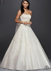 Oleg Cassini 'Satin Bodice Organza' size 10 new wedding dress front view on model