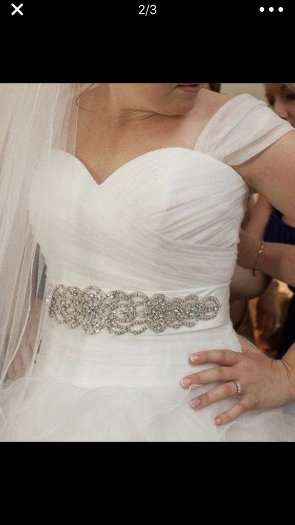 Sophia Moncelli 'Gorgeous Full Skirt' size 12 used wedding dress front view close up