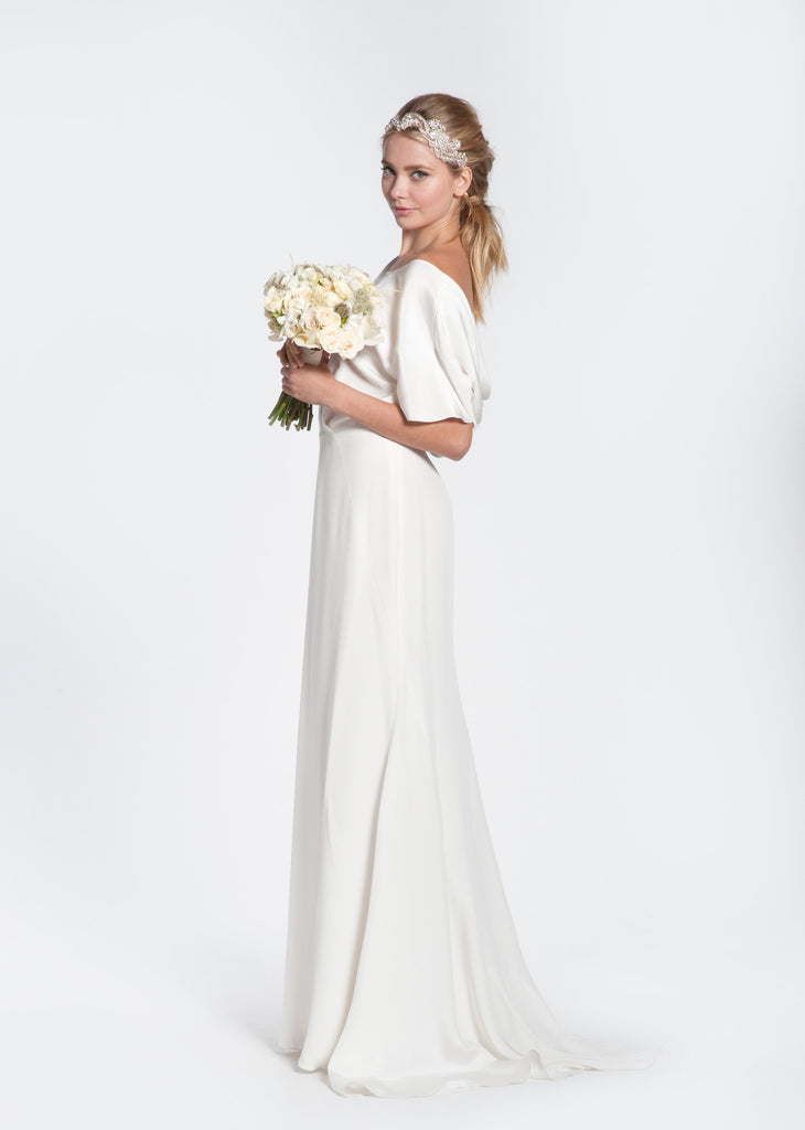 Winifred Bean 'Audrey' Draped Back Wedding Dress - Winifred Bean - Nearly Newlywed Bridal Boutique - 3