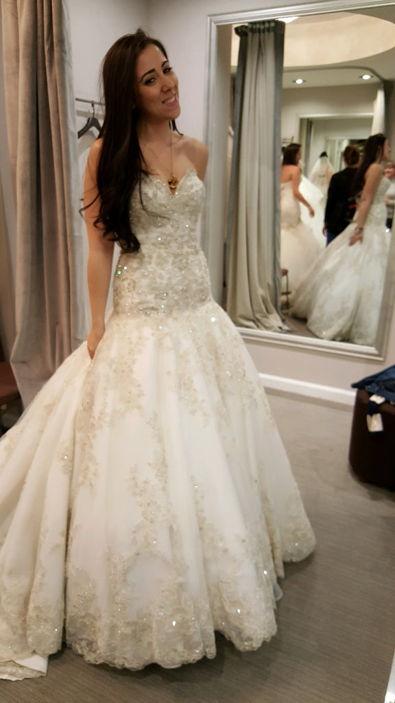 Allure Bridals 'C301' size 6 new wedding dress front view on bride