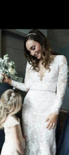 Load image into Gallery viewer, Galina Signature 'Galina' size 4 used wedding dress front view on bride