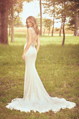 Lillian West 'Allover Corded Lace' size 10 new wedding dress back view on model