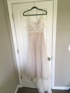 BHLDN 'Heritage' size 4 used wedding dress front view on hanger
