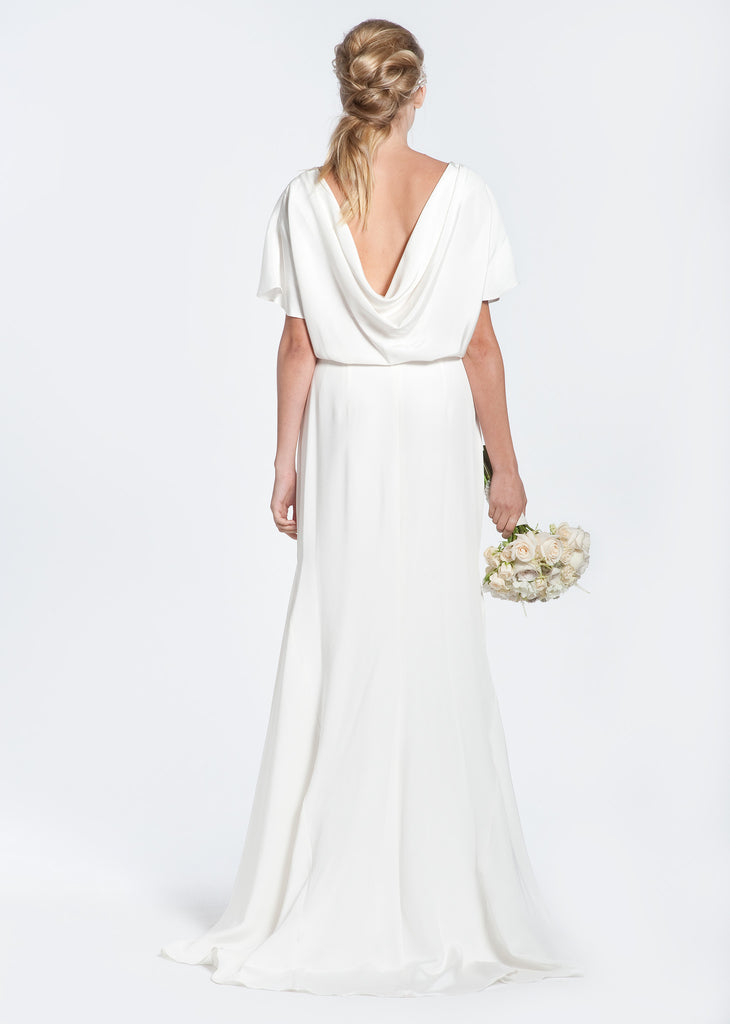 Winifred Bean 'Audrey' Draped Back Wedding Dress - Winifred Bean - Nearly Newlywed Bridal Boutique - 1