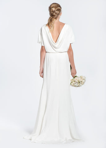 Winifred Bean 'Audrey' Draped Back Wedding Dress