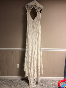 Sweetheart 'Mermaid' size 14 used wedding dress back view on hanger