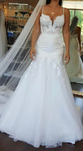 Martina Liliana 'Beaded Lace' size 8 used wedding dress front view on bride