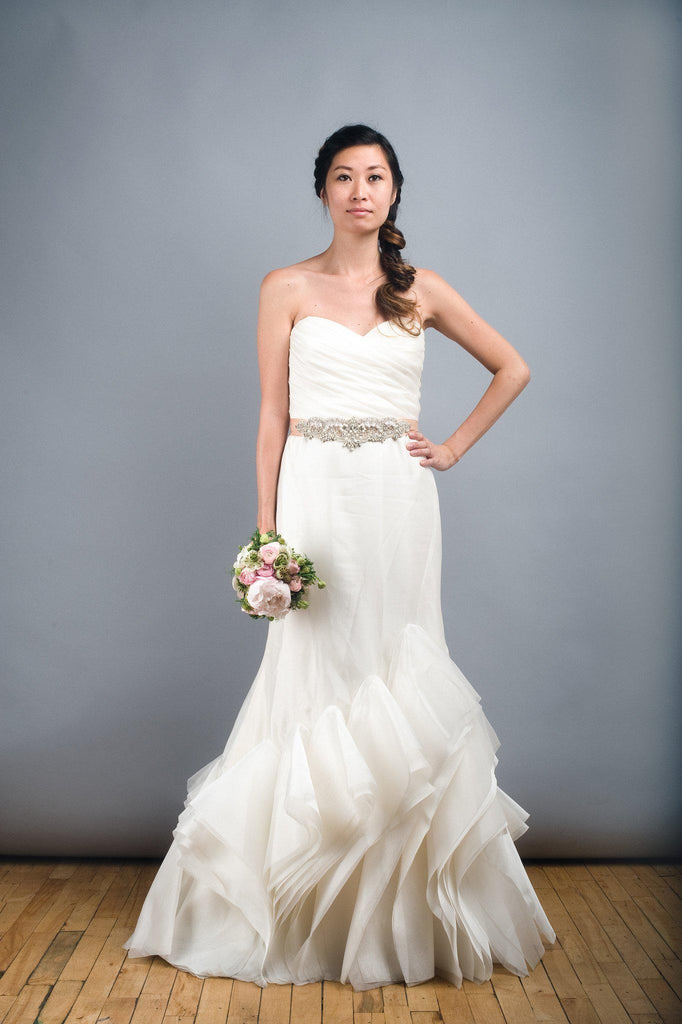 Tara Keely Mikado Organza Trumpet Ruffle Wedding Dress - Tara Keely - Nearly Newlywed Bridal Boutique - 1