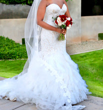 Load image into Gallery viewer, Madison James 'Champagne Mermaid' size 8 used wedding dress front view on bride