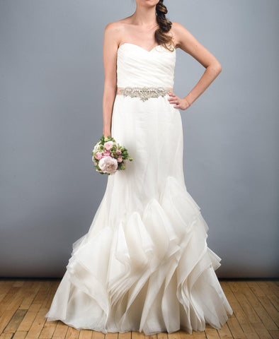 Tara Keely Mikado Organza Trumpet Ruffle Wedding Dress