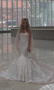 Inbal Dror '15-16' size 2 used wedding dress front view on bride