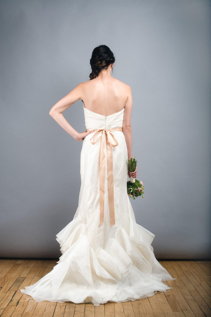 Tara Keely Mikado Organza Trumpet Ruffle Wedding Dress - Tara Keely - Nearly Newlywed Bridal Boutique - 4