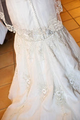 Lazaro Dropped Waist Beaded Mermaid Wedding Dress - Lazaro - Nearly Newlywed Bridal Boutique - 3