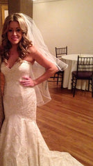 Matthew Christopher 'Monroe' size 8 used wedding dress front view on bride