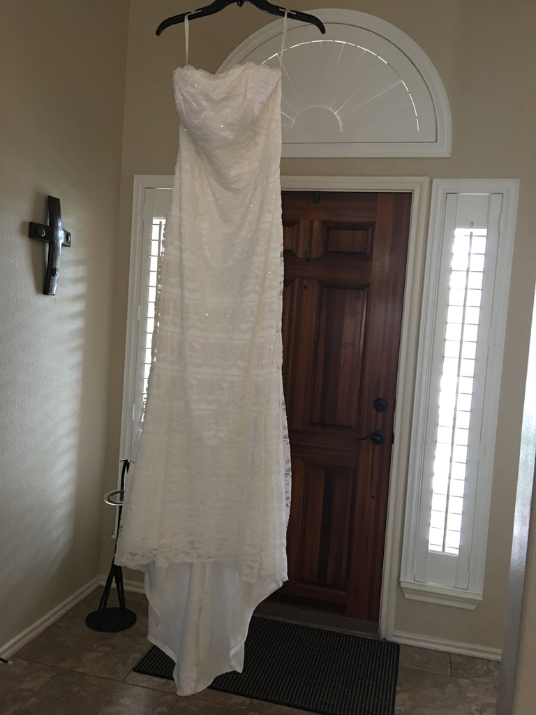 Galina 'VW9340 Ivory Trumpet' size 10 used wedding dress front view on hanger
