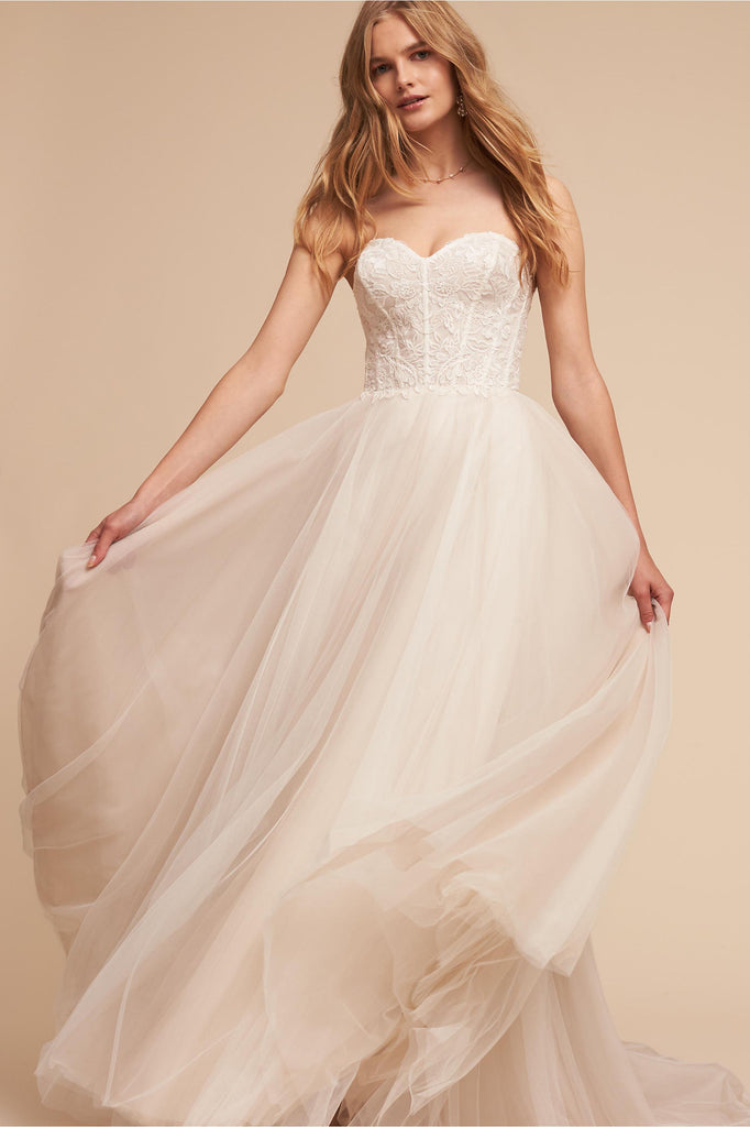 BHLDN 'Rowland' size 6 used wedding dress front view on model