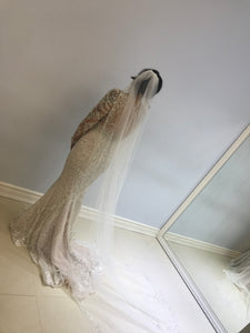 Stephen Yearick 'Long Sleeved' size 8 new wedding dress back view on bride