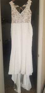 Stella york '6476' size 14 used wedding dress front view on hanger