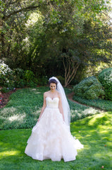 Martina Liana '821' size 8 used wedding dress front view on bride