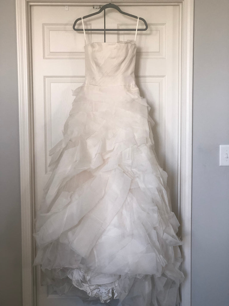 Vera Wang 'Diedre' size 2 used wedding dress front view on hanger