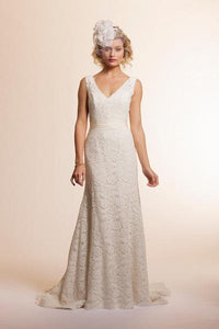 Amy Kuschel Sage Lace Trumpet Wedding Dress - amy kuschel - Nearly Newlywed Bridal Boutique - 1