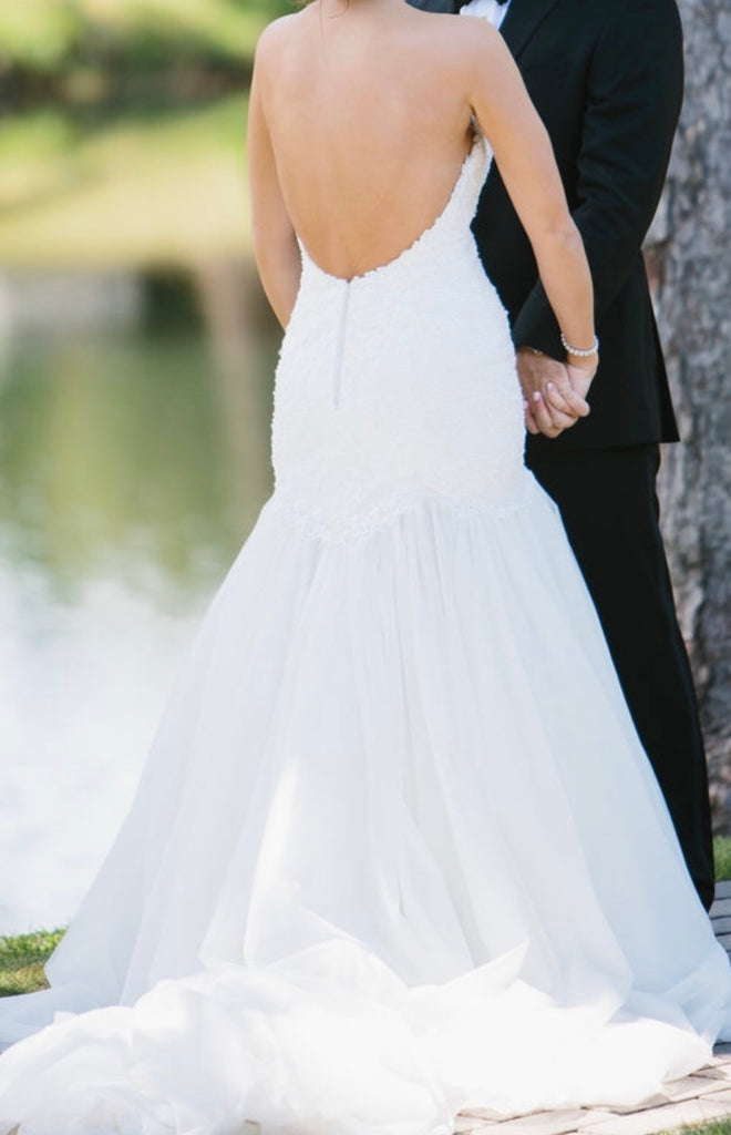 Essence of Australia 'Beaded Strapless' size 10 used wedding dress back view on bride