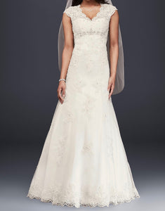 David's Bridal 'Cap Sleeve' size 12 new wedding dress front view on model