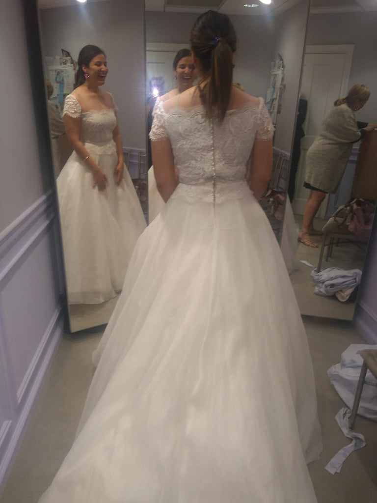 Reem Acra 'Beautiful' size 14 used wedding dress back view on bride