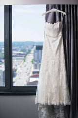 Enzoani 'Mode' size 4 used wedding dress front view on hanger