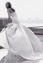 Load image into Gallery viewer, Kenneth Pool 'Silk Satin Minuet' size 6 used wedding dress side view on model