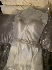 Ed young  'Champagne V-Neck A-Line Mikado Prom Gown with Embellished Waist' wedding dress size-06 PREOWNED