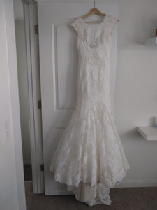 Allure Bridals '9000' size 8 used wedding dress front view on hanger