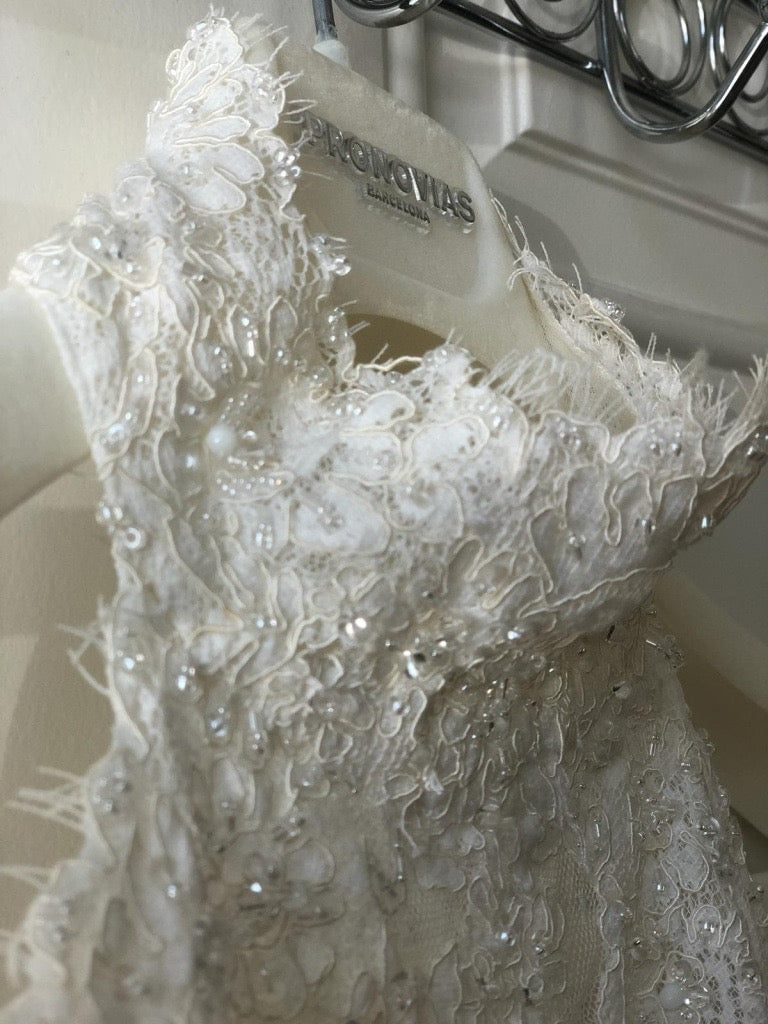 Pronovias 'Barcelona' size 6 used wedding dress front view of bodice