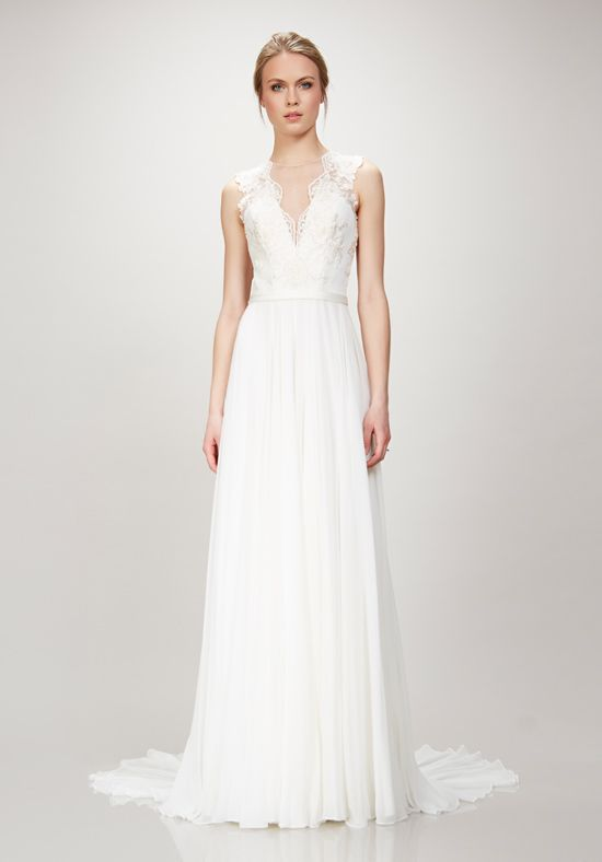 Theia 'Alicia' size 12 sample wedding dress front view on model