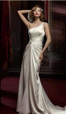 Galina 'Beaded One-Shoulder' size 4 new wedding dress front view on model