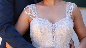 Kenneth Winston '1656' size 6 used wedding dress front view close up