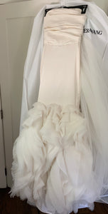 Vera Wang 'Ethel-Ivory' size 2 used wedding dress front view on hanger