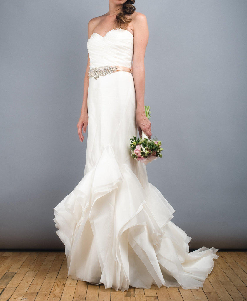 Tara Keely Mikado Organza Trumpet Ruffle Wedding Dress - Tara Keely - Nearly Newlywed Bridal Boutique - 3