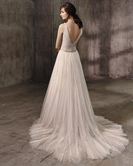 Badgley Mischka 'Alessandra' size 8 used wedding dress back view on model