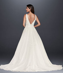 David's Bridal 'Mikado and Tulle' size 8 used wedding dress back view on model