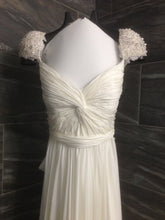 Load image into Gallery viewer, Reem Acra 'Olivia' size 10 used wedding dress front view close up on hanger