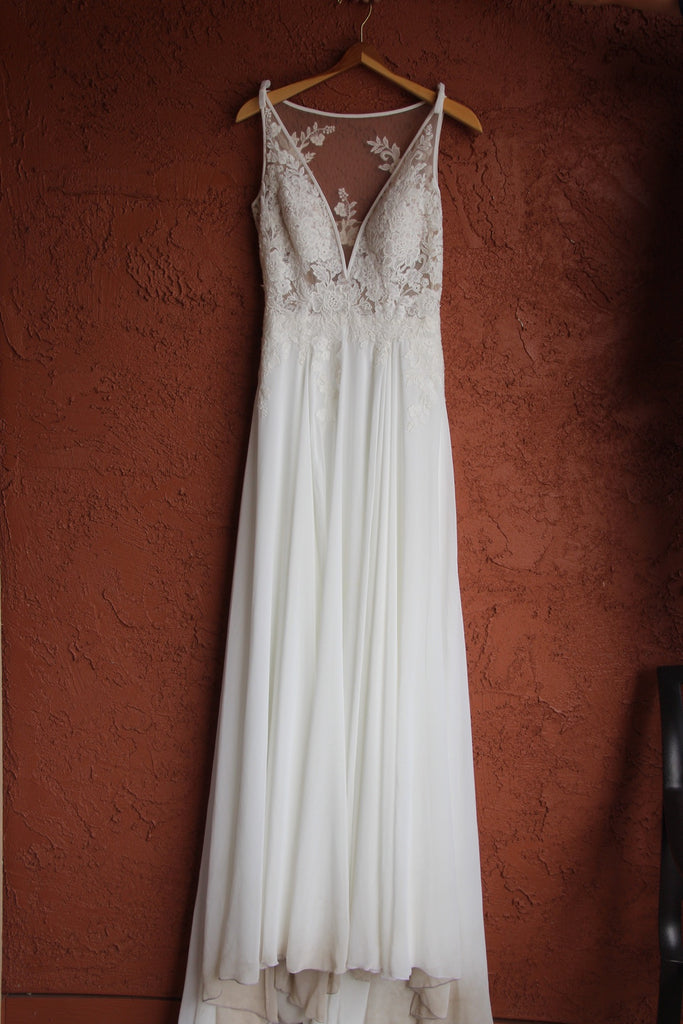 Pronovias 'Escala' size 4 used wedding dress front view on hanger