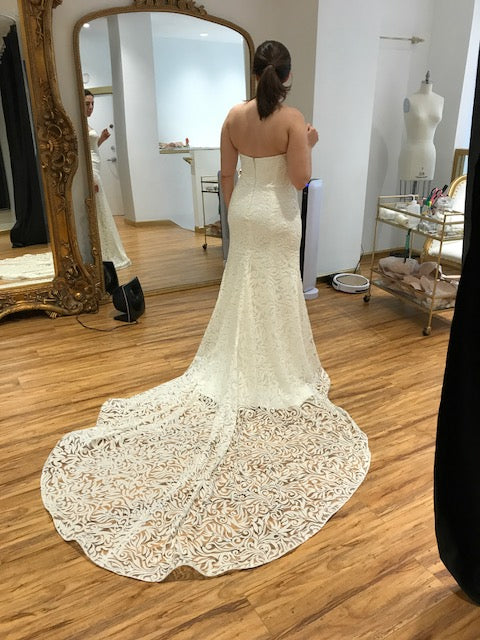 Sareh Nouri 'Marigold' size 12 used wedding dress back view on bride