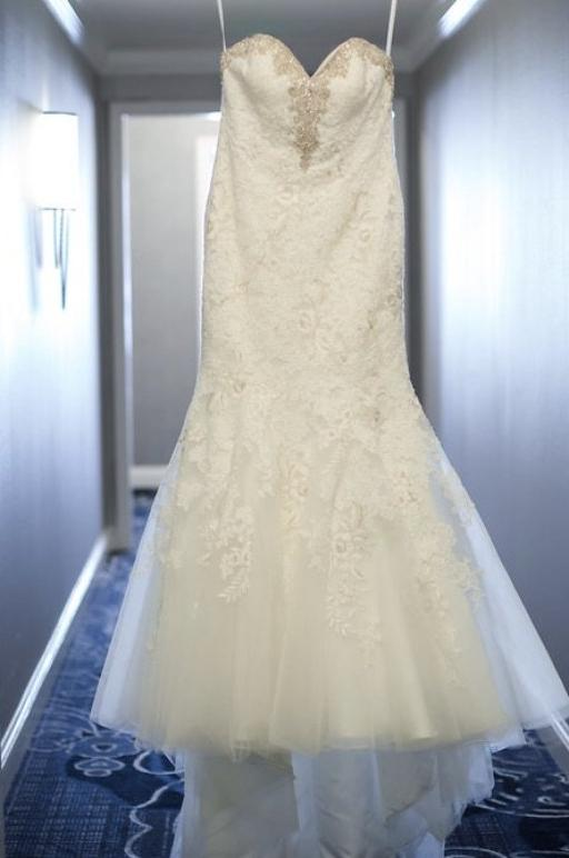 Allure Bridals '9266' size 14 used wedding dress front view on hanger