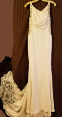 Galina Signature 'Beaded Illusion' size 8 new wedding dress front view on hanger