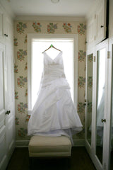 Kenneth Winston '3352' size 22 used wedding dress front view on hanger